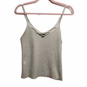 American Eagle Outfitters Cream Ribbed Knit Cami